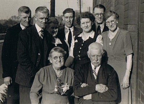 John Henry and Jessie Wormley at Conisbrough with their grown-up children in about 1950.
