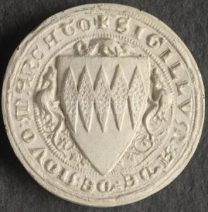 The seal of our 13th century ancestor Baron Adam de Newmarch.
