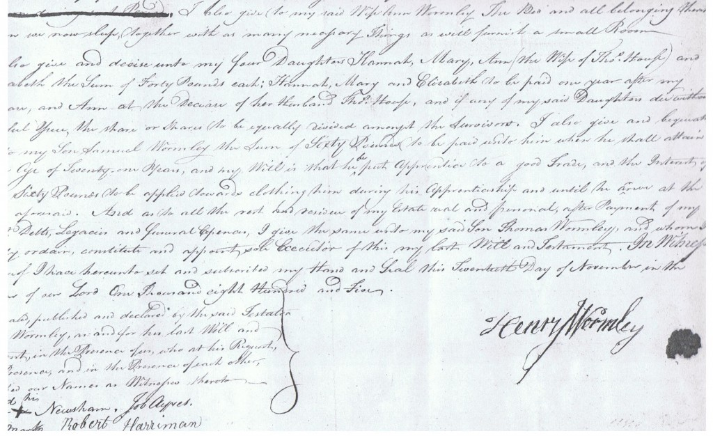 Part of Henry Wormley's will written in 1805.