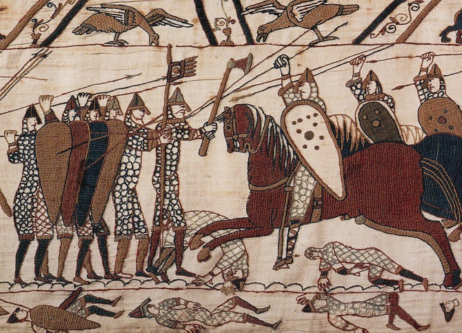 A Norman cavalry charge against the Saxon infantry at the Battle of Hastings. Perhaps these leading horsemen were our ancestor Gilbert Crispin II and Henry de Ferrers....