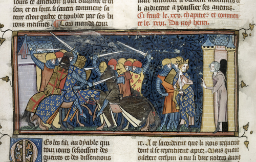 A medieval depiction of Tilleres being attacked and burnt, leading to the surrender of the Crispins' castle there.